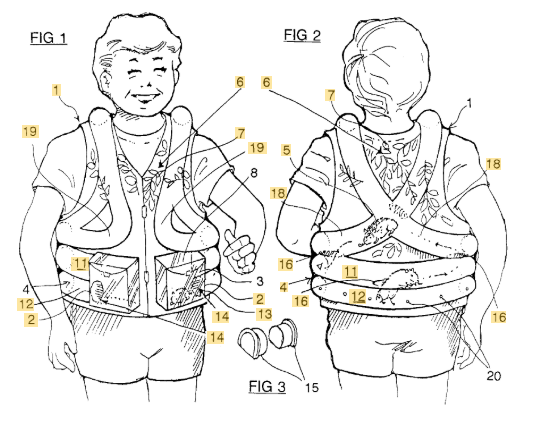 Gerbil vest patent figure of boy wearing the device