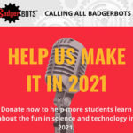 Microphone on a red background with the BadgerBOTS logo and black, yellow and off-white text